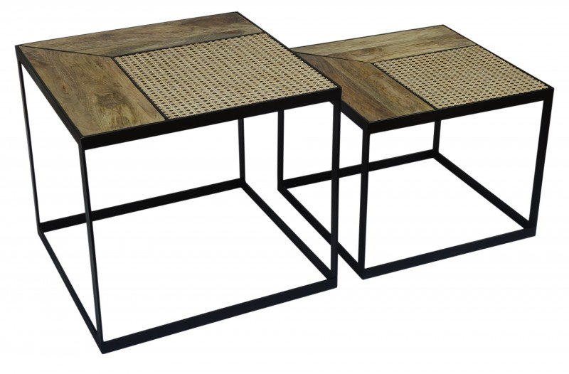 Konferenční stolky Laredo 2ks - mango, ratan  / 40134