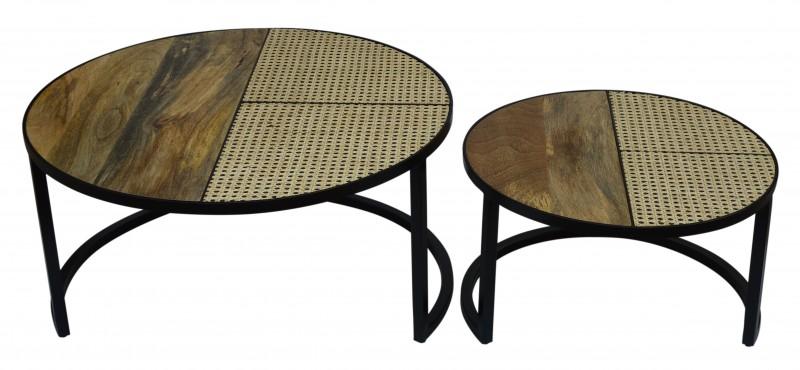 Konferenční stolek Laredo 2ks - mango, ratan / 40135
