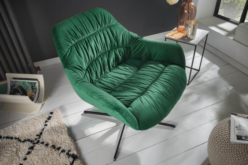 Křeslo Molly Comfort - smaragdové, samet / 40011