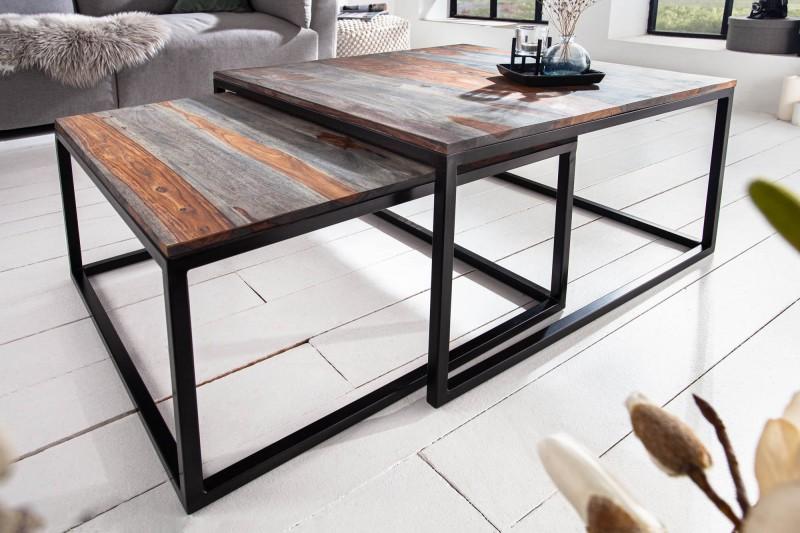 Konferenční stolek - 2ks Sheesham Smoke grey / 40281