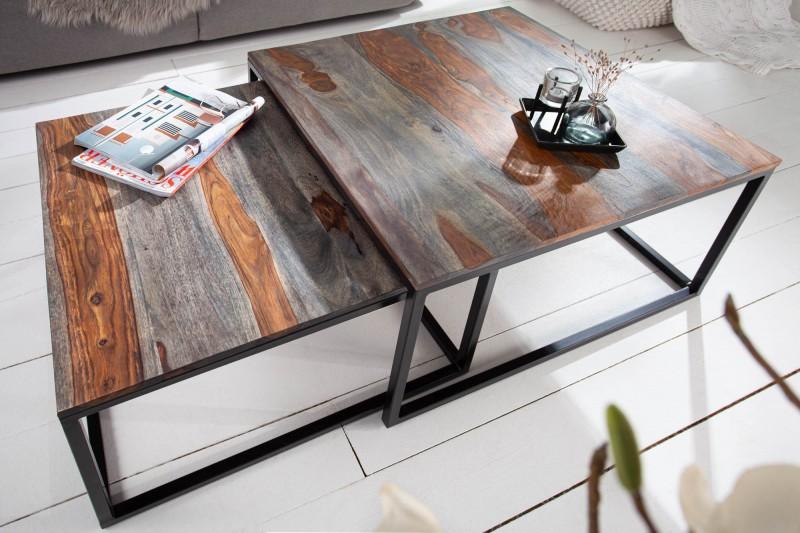 Konferenční stolek Matteo 2ks - Sheesham, kouřově šedý / 40281
