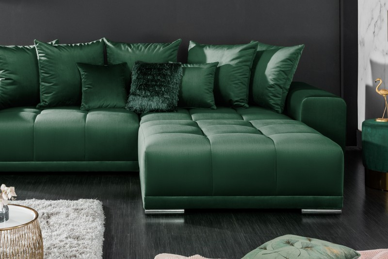 Taburet Cassiopea 110cm x 90cm - smaragdová, samet / 40158