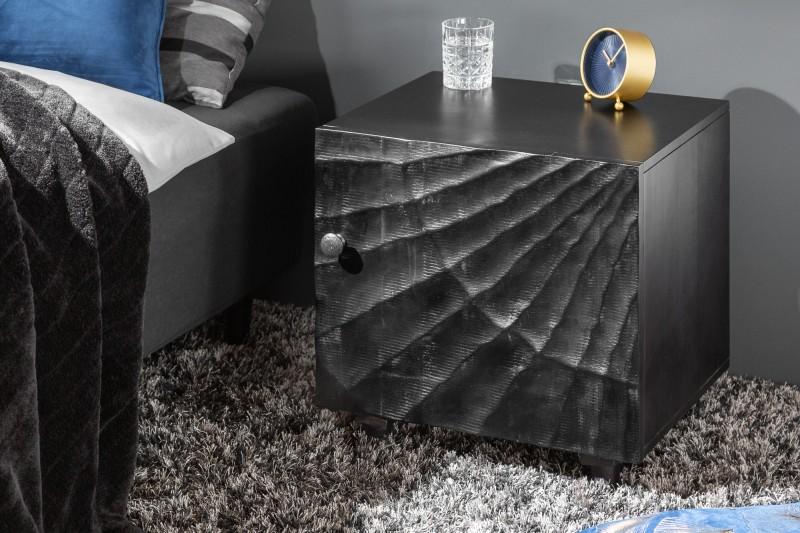 Noční stolek Lima 50cm x 51cm - mango, černé / 40430