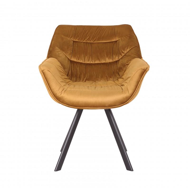 Jídelní židle Molly Comfort - žlutá, samet / 40008