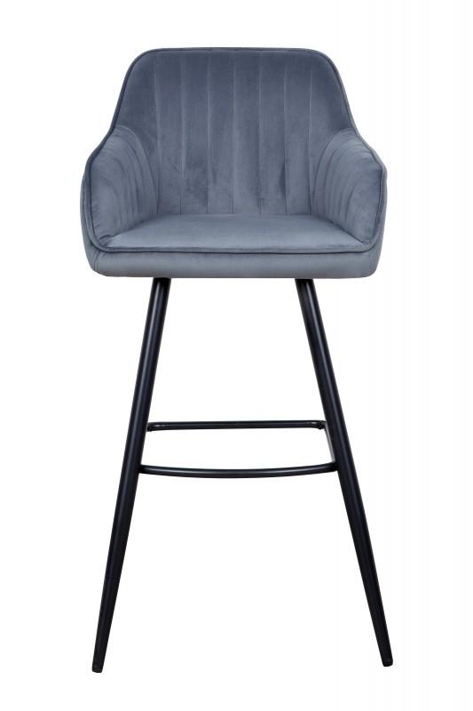 Barová židle Monroe - šedá, samet / 40435