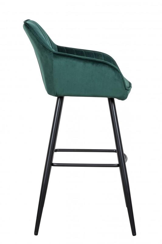 Barová židle Monroe - smaragdově zelená, samet / 40436