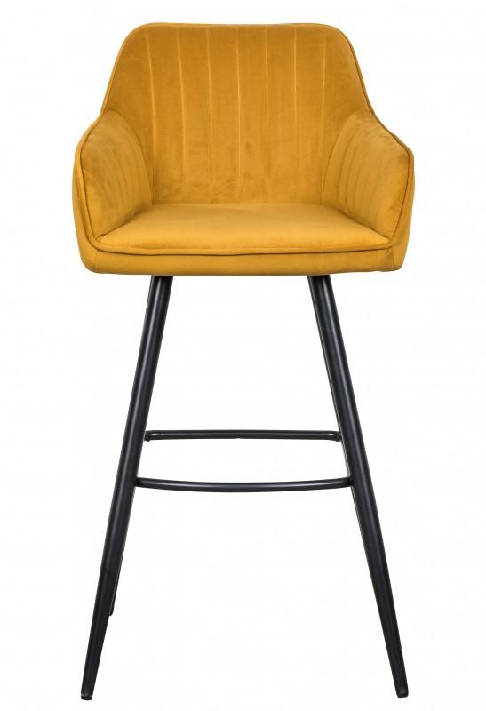 Barová židle Monroe - žlutá, samet / 40437