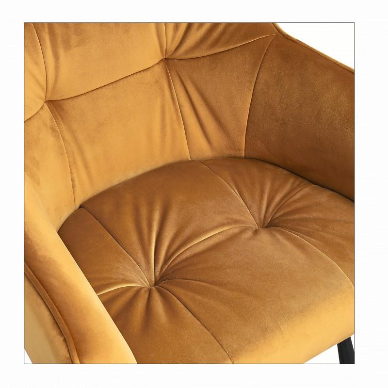 Barová stolička Klara 100cm žlutá sametová loketní opěrka / 40308