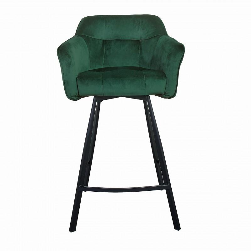 Barová stolička Klara 100cm zelená sametová loketní opěrka / 40309