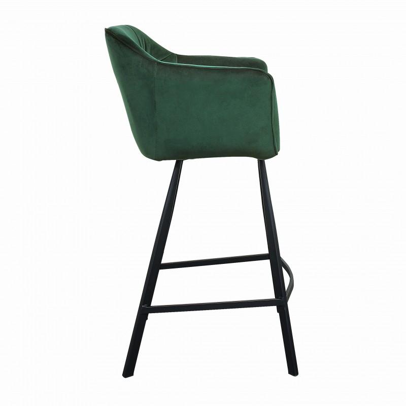 Barová židle Telma - zelená, samet / 40309
