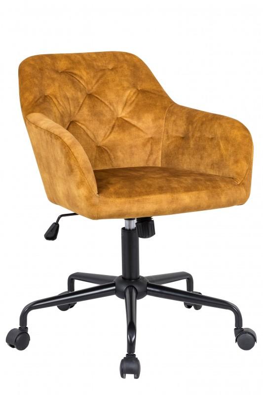 Kancelářská židle Monica - žlutá, samet / 40303