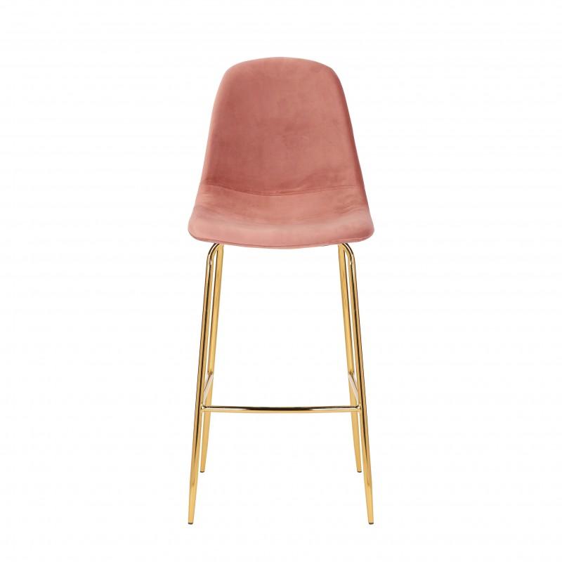Barová židle Scandinavia starožitné růžové sametové zlato / 40132