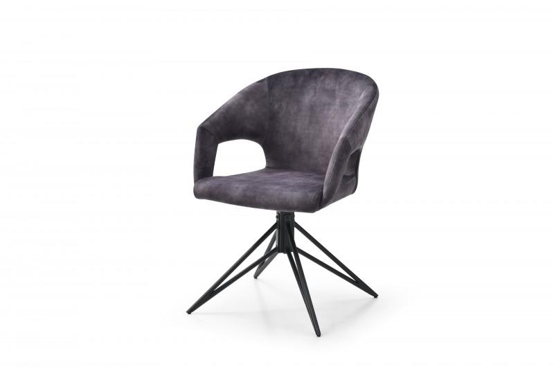 Jídelní židle Lindsay - šedá, samet / 40496