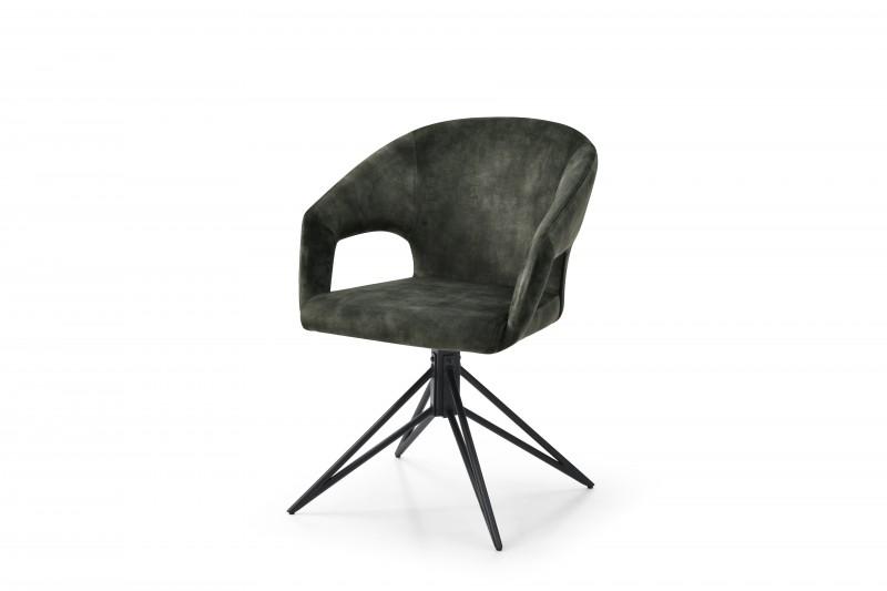 Jídelní židle Lindsay - tmavě zelená, samet / 40498