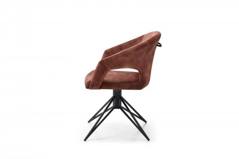 Jídelní židle Lindsay - hnědá, samet / 40499