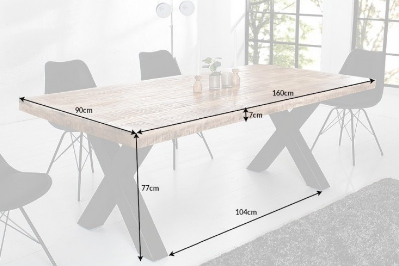 Jídelní stůl Hobart Cross 160cm x 90cm - přírodní mango / 40012