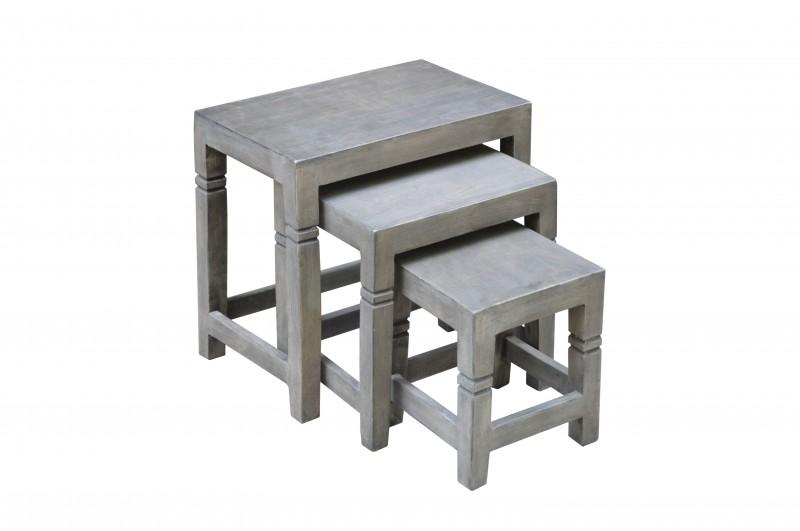 Konferenční stolky Taza 3ks - akát, šedý / 39658