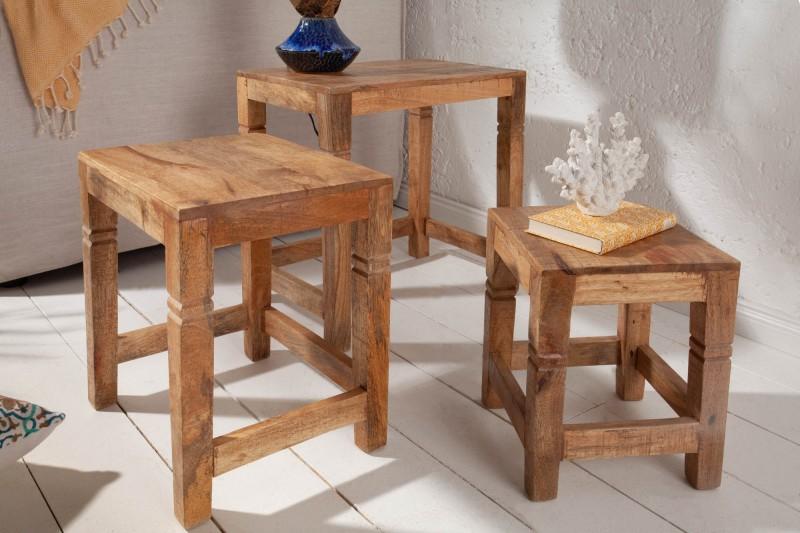 Konferenční stolky Taza 3ks - přírodní mango / 39659