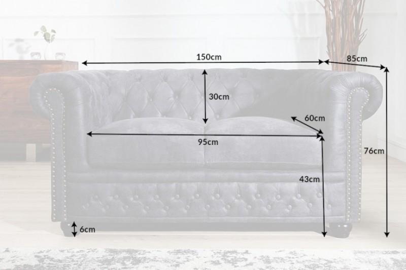 Pohovka Chesterfield II 150cm - šedá, starožitná / 40518