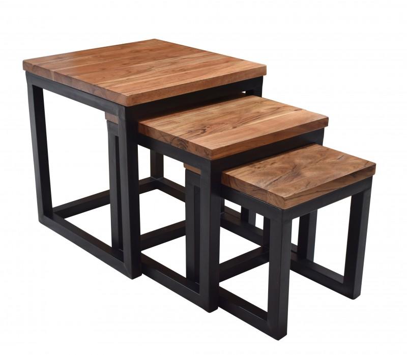 Sada bočních stolů s prvky 3 akácie přírodní černá / 39576
