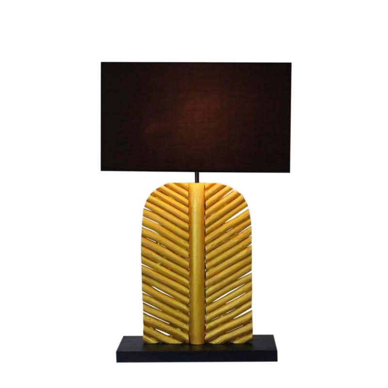 Stolní lampa Leaf 63cm longan wood gold black / 40502