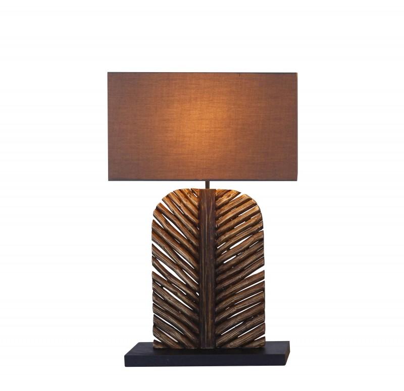 Stolní lampa Leaf 63cm longan dřevo hnědá / 40503