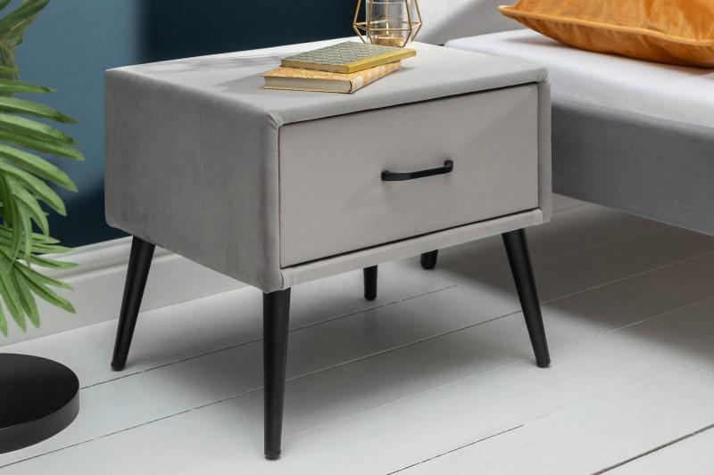 Noční stolek Dawies 45cm x 42cm - stříbrno šedý, samet / 40032