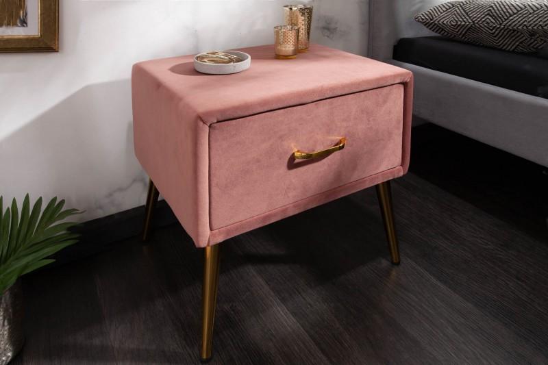 Noční stolek Dawies 45cm x 42cm - tmavě růžový, samet / 40030