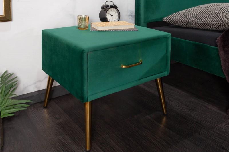 Noční stolek Dawies 45cm x 42cm - smaragdový, samet / 40031