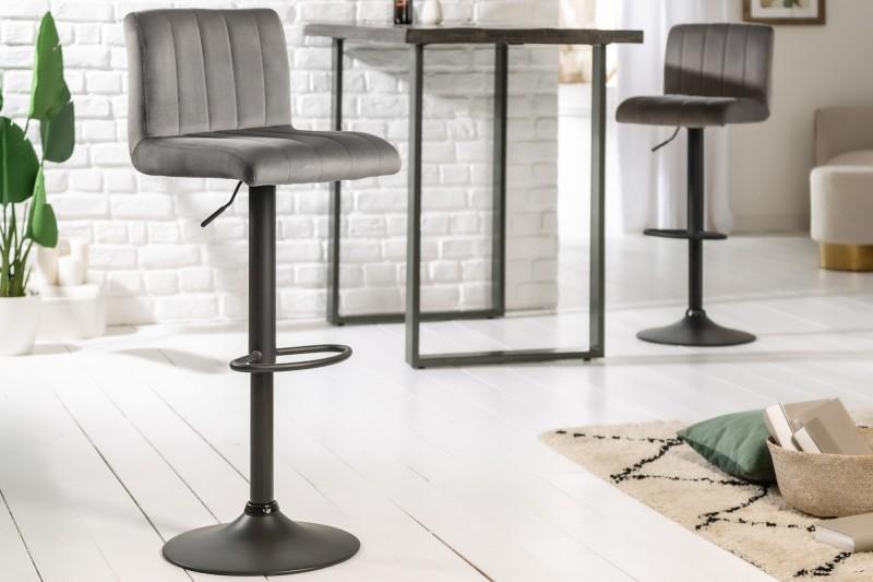 Barová židle Allison - šedá, samet / 40125