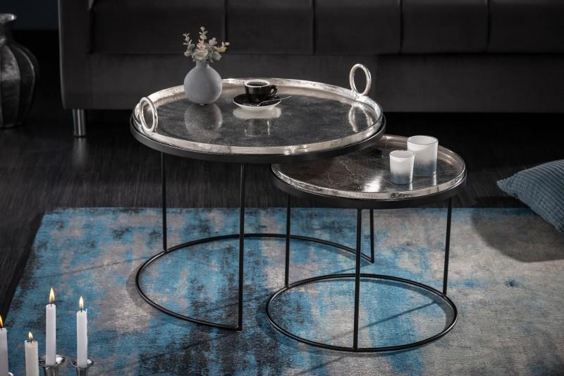 Konferenční stolek Dorado Oriental 2ks - stříbrná, černá / 40637