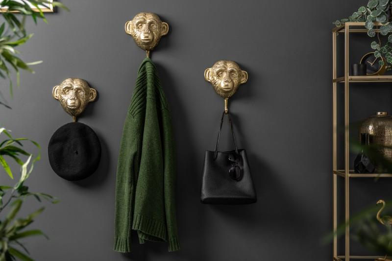 Dekorativní věšák Monkey 3ks - zlaté / 40388