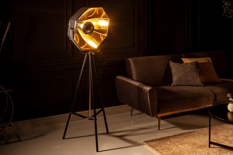 Stojací lampa Atelier - černá, zlatá / 40779