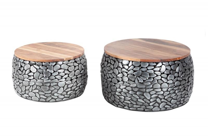 Konferenční stolek Magic 2ks - stříbrný, akát / 41384
