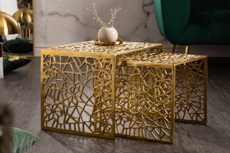 Konferenční stolek Abstraktní sada 2 zlatých / 40899