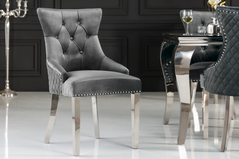 Jídelní židle Baroque Lion - šedá, samet i / 40471