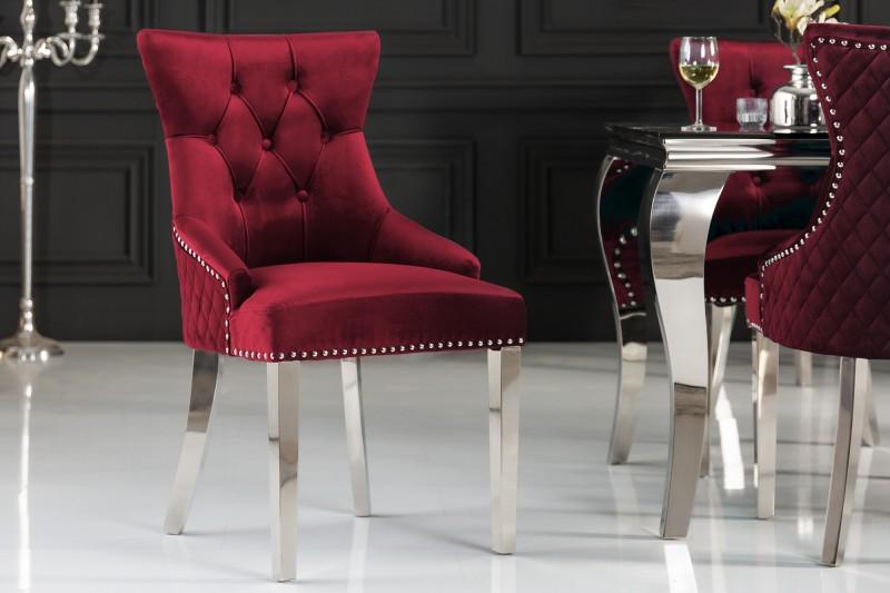 Jídelní židle Baroque Lion - červéná, samet / 40472