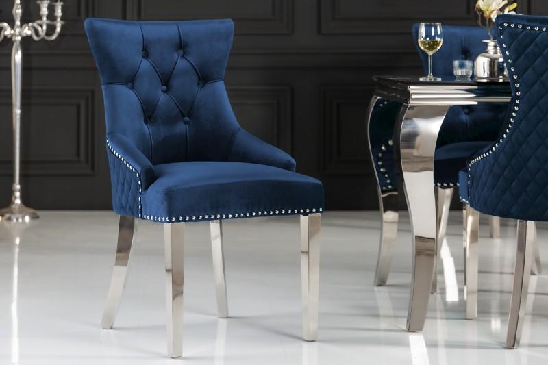 Jídelní židle Baroque Lion - královská modrá, samet  / 40473