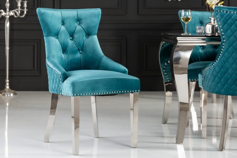 Jídelní židle Baroque Lion - tyrkysová, samet / 40474