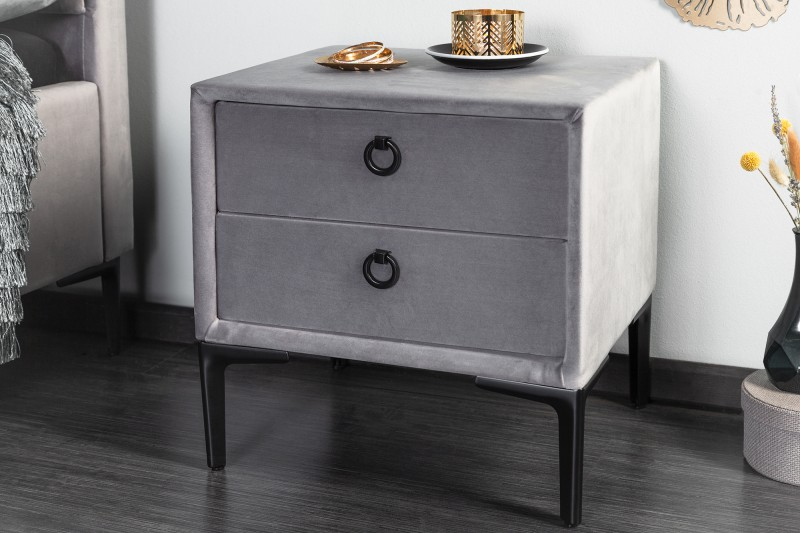 Noční stolek Cosmopolite - stříbrošedý, samet / 40784
