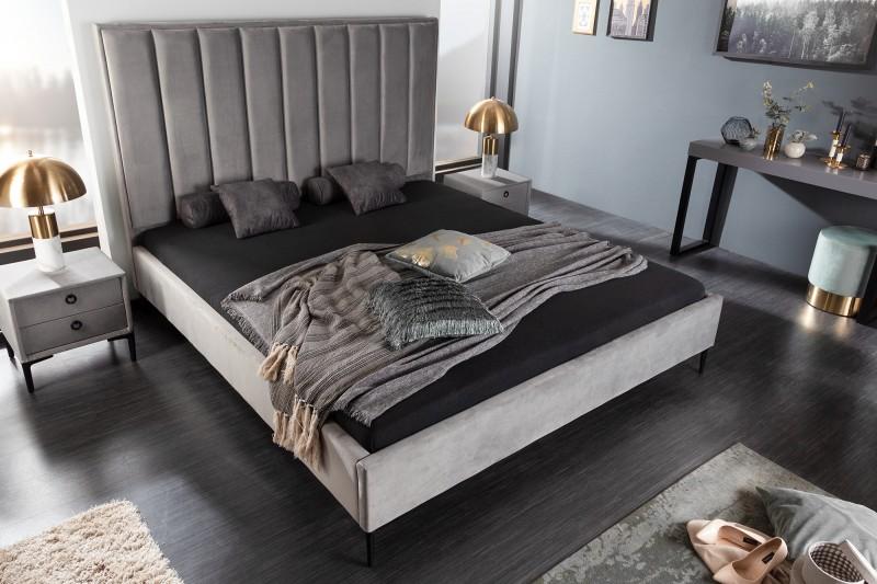 Kosmopolitní postel 160x200cm sametová stříbrošedá / 40558