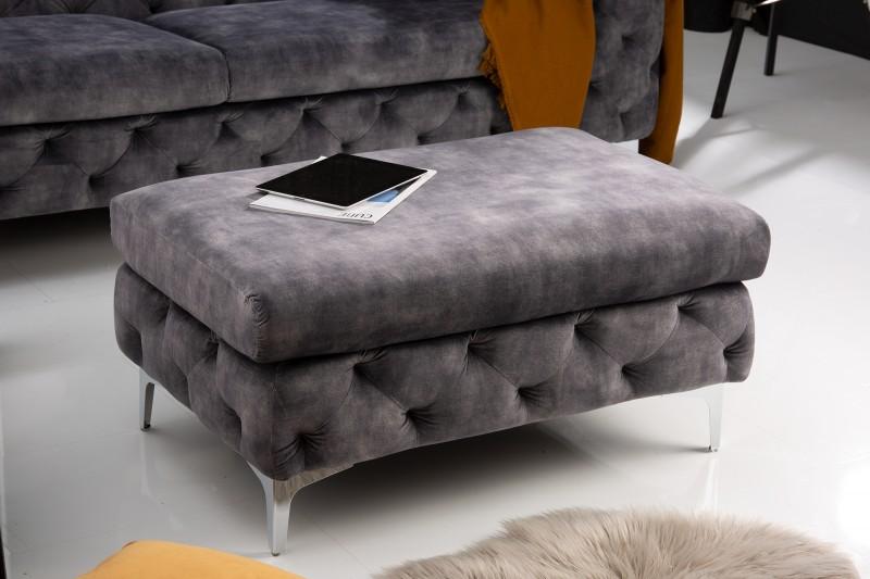 Moderní barokní stolička tmavě šedý samet / 41135