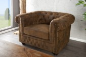 Sessel Chesterfield braun Antik Look/ 17383