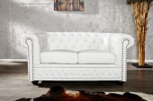 Sofa Chesterfield 2er weiss matt m. Nieten/ 12547