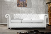 Sofa Chesterfield 3er weiss matt m. Nieten/ 11222