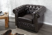 Sessel Chesterfield dark coffee m. Nieten/ 9684