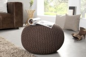 Pouf Leeds 50cm dark coffee Strick/ 35091