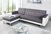 Ecksofa Chaise Lounge weiss anthrazit/ 36141