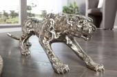 Skulptur Leopard 80cm antik silber/ 18509