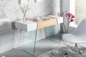 Konsole/ Schreibtisch Onyx 120cm weiss Glas-Eiche/ 36200